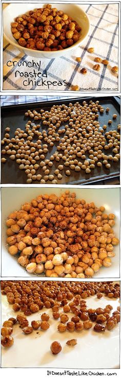 Crunchy Roasted Chickpeas! An easy and awesome healthy snack! Have this instead of  chips! Recipe here: http://itdoesnttastelikechicken.com/2013/08/12/crunchy-roasted-chickpeas/