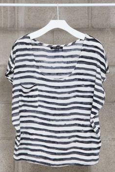 $31 mikkat market striped pocket tee