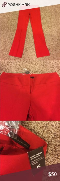 """NWT The Limited Exact Stretch Red Pants Slacks 6 Slim boot cut. A true red color. Brand new with tags! 15"""" waist, 40"""" length, 31"""" inseam. The Limited Pants"""