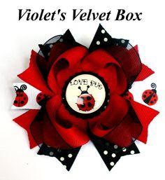 Lady Bug Hair Bow- Lady Bug Bow- Baby Girls Ladybug Bow - Boutique Bow by Violet's Velvet Box