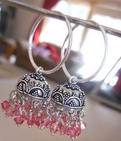 Jaipur Jhumkas - With Pink Swarovski Crystals