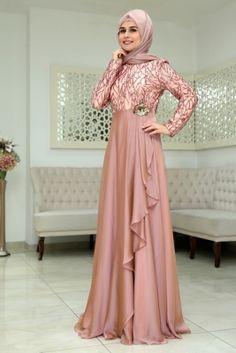 Som Fashion Pudra Hümaşah Tesettür Abiye Elbise