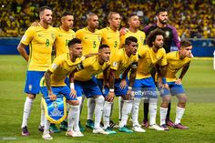 Players of Brazil pose for a photo before a match between Brazil and Argentina as part 2018 FIFA World Cup Russia Qualifier at Mineirao stadium on November 10, 2016 in Belo Horizonte, Brazil.