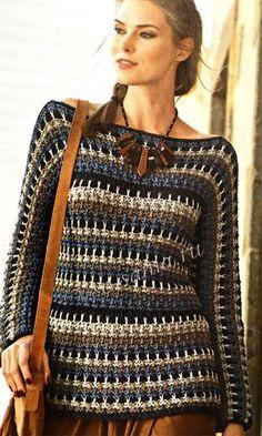 Пуловер в полоску с цельновязаными рукавами