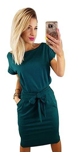 Longwu Women s Elegant Short Sleeve Wear to Work Casual Pencil Dress Belt  Dark Green f2c6fa28059