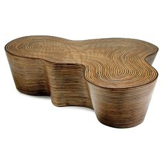 Oggetti Showtime Coffee Table--actually made of inlaid rattan strips