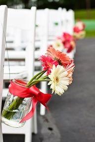 gerber daisy wedding pew decorations | mason jar and gerber daisy aisle decor. maybe not gerber daisies ...