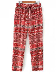 Printed Straight Cut Casual Pants - RED M