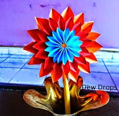 Dahlia Flower & Origami Wreath