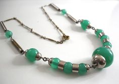 Art Deco chrome necklace with green Galalith Jakob Bengel