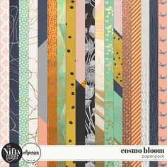 Cosmo Bloom Paper Pack by The Nifty Pixel This pack is a fun eclectic mix of geometric and floral patterns perfect for all those Autumn or Spring inspired projects. You might even find a couple of extra papers in the pack ;)  PACK INCLUDES:  18X Pattern Papers (12 X 12) All products are saved at 300ppi for optimum printing quality.