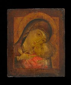 Icon painted in egg tempera on wood prepared with cloth and gesso; Subject: the Korsun Mother of God. The oklad is embossed with symmetrical foliate ornament. Andrei Rublev, Russian Icons, Religious Icons, Art Icon, Orthodox Icons, Tempera, Blessed Mother, Sacred Art, Christian Art
