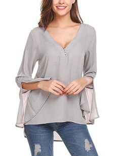 f8ffe4604260bc Fashionable Tops For Women · Zeagoo Women's Casual Chiffon Button V Neck  Blouses Long Bell Sleeve Side Split Top Shirts Gray