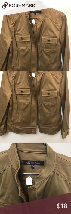 Ann Klein khaki zip up jacket Ann Klein great deep brown almost khaki zip up jacket with pockets and buttons... excellent condition Anne Klein Jackets & Coats Utility Jackets