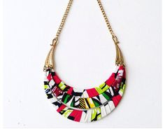 African Necklace, African Jewelry, Fabric Necklace, Fabric Jewelry, African Prints, African Fabric, Faux Col, Jewelry Accessories, Fashion Accessories