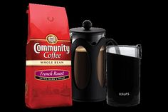 The perfect gift for anyone who has just started drinking Community Coffee. Includes a Kenya Bodum 8 cup (32 oz.) French Press, a Krups Blade Grinder, as well as our 12 oz. Whole Bean French Roast. $49.99
