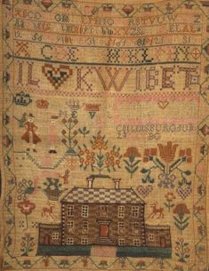 Jannet Lidsy-1807-Collinsburg, Pennsylvania. Aged 10.  silk threads on a linen ground with four rows of alphabets above a row of large lettered monograms, likely members of Jannet's family, over a large public building flanked by assorted flowers, figures, hearts, crowns, and animals, with a geometric floral border