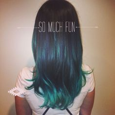 87 unique ombre hair color ideas to rock in 2018 - Hairstyles Trends Teal Ombre Hair, Teal Hair Color, Brown Hair Colors, Black Blue Ombre, Teal Blue, Underdye Hair, Hair Dos, Glitter Acrylics, Bobs
