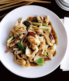 Australian Gourmet Traveller and Lau's Family Kitchen Chinese recipe for stir-fried squid with black bean