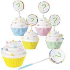 Double fun treats—cupcakes with lollipops-- make a clever addition to your baby gender reveal celebration. The end of the lollipop stick is dipped in pink or blue Candy Melts® candy. Guests pull out the lollipop to reveal if baby is a boy or girl!