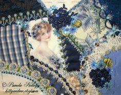 crazy quilts | Blue Crazy Quilt Purse