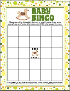 Baby Shower Bingo Game brought to you by printmybabyshower.com and thelittledabbler.com