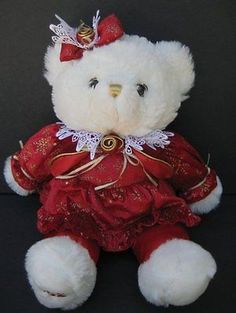 "18"" White CHRISTMAS TEDDY BEAR Red Outfit Plush DAN DEE 2002 Stuffed Toy"