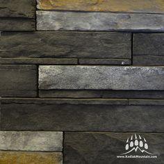 Dry Stack Ledge Black Diamond www.KodiakMountain.com Manufactured Stone, Black Diamond, Hardwood Floors, Texture, Mountain, Yard, Cabin, Wood Floor Tiles, Surface Finish