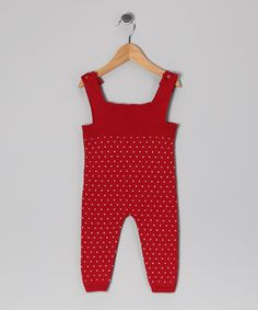 Take a look at this Red Alex Knit Overalls - Infant by Rockefella on #zulily today!