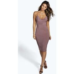 Boohoo Night Karen Slinky Bodycon Midi Dress ($26) ❤ liked on Polyvore featuring dresses, mauve, body con dress, plunging v neck dress, midi dress, form fitting dresses and mid calf dresses