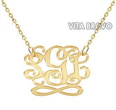 Monogram Necklace Infinity Hand Made Initials Personalized Gold Tone Metal Jewel - ShopHandmade
