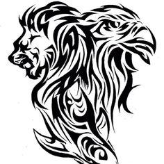 Tattoo design of a lion, eagle and shark