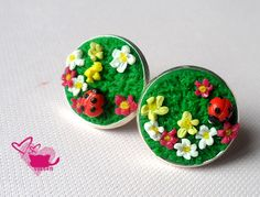 Spring earrings - fimo flower, fimo ladybug
