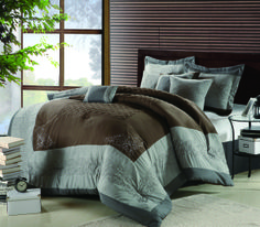Florence Brown 12 piece Comforter Set. #ChicHome #LuxBed #Bedroom