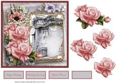 Roses and doves card with decoupage on Craftsuprint designed by Angela Wake - Roses and doves card with decoupage and sentiment tags - Now available for download!