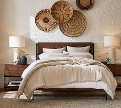 32 Stunning Platform Bed Ideas You Must Have - Searching for a new platform bed? Here are some interesting things you can look for when shopping for a platform bed frame. Not all of these options m. Pottery Barn Bedrooms, Rustic Bedrooms, Reclaimed Wood Beds, Wooden Beds, Tall Bed, Tall Headboard, Leather Headboard, Neutral Bedding, Arquitetura