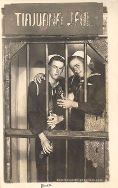 "postcardtimemachine: "" (via WWII era sailors Bill & Jim's ""After"" "" Vintage Sailor, Vintage Men, Vintage Photographs, Vintage Photos, Vintage Friends, Photos Originales, Asian History, British History, Alternate History"