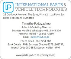 MOTOR SPARES | CAR PARTS | JOHANNESBURG - Find new motor spares and vehicle parts suppliers for all makes and models of motor vehicles in Johannesburg. We stock the original manufacturers parts or aftermarket . International Parts & Vehicle Technologies. Mobile: 061 5444 370 #Instaauto #market #instagood #sougofollow #Deals #nissan #auto #tech #news #RT #FF #tbt #followback #TeamFollowBack #follow #autofollow #hot