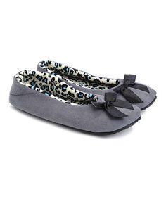 Gray Bow Slipper by Skidders  #zulilyfinds