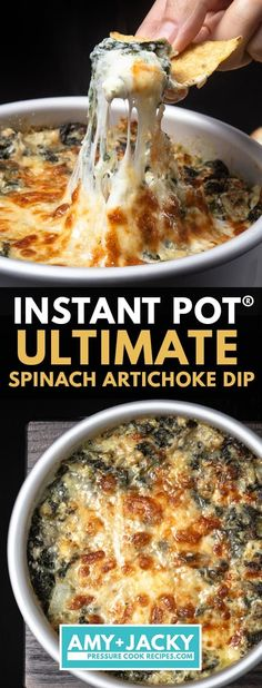 How to make Ultimate Instant Pot Spinach Artichoke Dip (Pressure Cooker). Your crowd will rave over this deliciously addictive creamy cheesy party appetizer Cranberry Salad, Best Instant Pot Recipe, Instant Pot Dinner Recipes, Instant Pot Pressure Cooker, Pressure Cooker Recipes, Best Spinach Artichoke Dip, Spinach Dip, Spinach Recipes, Potato Recipes
