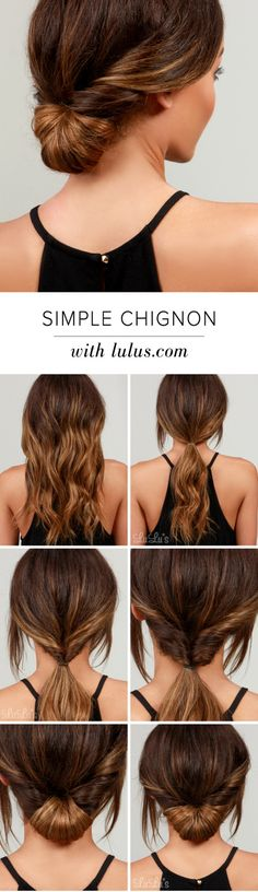 How-To: Simple Chignon Hair Tutorial LuLu*s How-To: Simple Chignon Hair Tutorial at !LuLu*s How-To: Simple Chignon Hair Tutorial at ! Easy Everyday Hairstyles, Easy Hairstyles, Wedding Hairstyles, Hairstyle Ideas, Gorgeous Hairstyles, Hairstyle Tutorials, School Hairstyles, Hairdos, Summer Hairstyles
