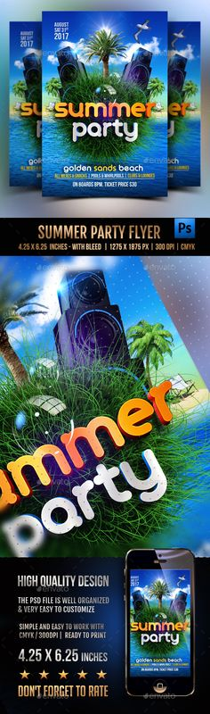 Summer Party Flyer Template PSD. Download here: http://graphicriver.net/item/summer-party-flyer/16217136?ref=ksioks