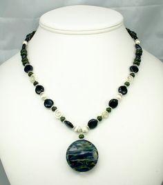 Blue Goldstone and Green Jasper Necklace by jillsjewelry on Etsy, $125.00