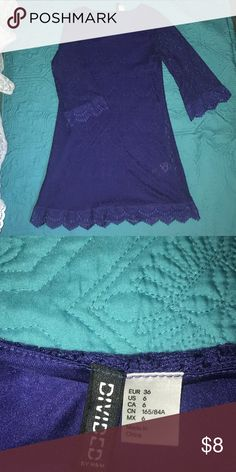 Purple lace longsleeved dress Purple lace Long sleeve dress. The brand is divided by H&M. In great condition only worn a few times. The length from shoulder to bottom of the dress is 32 inches. Size US 6 Divided Dresses Long Sleeve