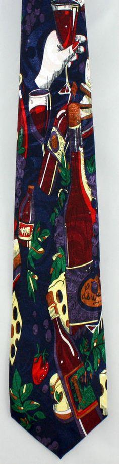 New Wine & Cheese Mens Necktie Tasting Red White Bottles Glass Blue Neck Tie #RenaissanceStevenHarris #NeckTie