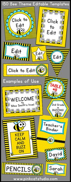 Let your imagination soar when you decorate your classroom using these fun bee theme labels and templates! This value packed set includes 150 full color template designs that can be used for posters, signs, labels, stickers, binder covers, newsletters, certificates and anything else you can think of for your classroom! By Pink Cat Studio