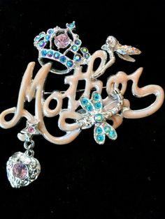 """LOVELY KIRKS FOLLY """"MOTHER"""" ENAMELED WITH GORGEOUS FLAIR...SILVER TONED #KIRKSFOLLY #BROOCHPIN"""