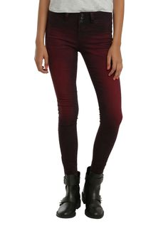 """<p>Sometimes you have to add a little color to your outfit. These red wash jeans have the perfect amount of color and stretch to become a staple in your wardrobe.Super skinny jeans from Blackheart with a red overdye, three-button and zip closureand two back pockets.</p>  <ul>  <li>80% cotton; 18% polyester; 2% spandex</li>  <li>Wash cold inside out; dry low</li>  <li>29"""" inseam</li>..."""