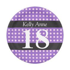 Personalized Purple 18th Birthday Pink Polka Dots Paper Plate