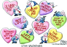 This Pat Bagley editorial cartoon appears in The Salt Lake Tribune on Friday, Feb. I Luv U, My Love, Feb 14, The Republic, My Hero, Thats Not My, Salt, Cartoons, Editorial